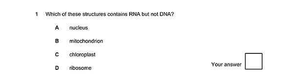 Example question from Biology-A-B MCQ student quiz