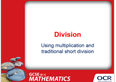 Division by inverse multiplication, traditional short division: PowerPoint - cover