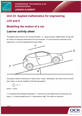 Unit 23 - Modelling the motion of a car - Lesson element - Learner task