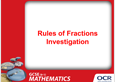 Rules of fractions investigation: PowerPoints - cover