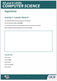 Algorithms topic exploration pack – Learner activity